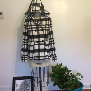 A.N.A. Plaid Hooded Coat Size M/M Pre-owned